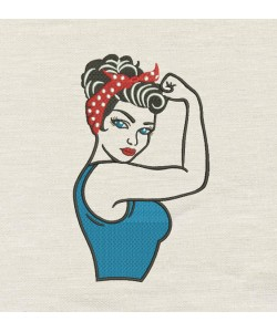 Rosie The Riveter V2 Embroidery