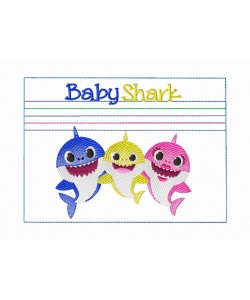 Zipper bag baby sharks embroidery ITH in the hoop