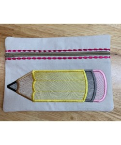 Zipper Bag pencil embroidery ITH in the hoop