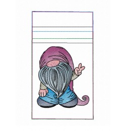 Zipper bag gnome embroidery ITH in the hoop