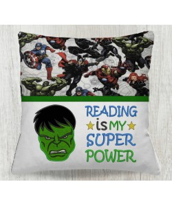 Hulk face with reading is my super power embroidery