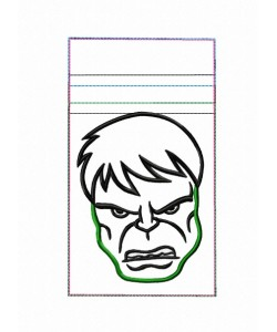 Zipper bag Hulk embroidery ITH in the hoop