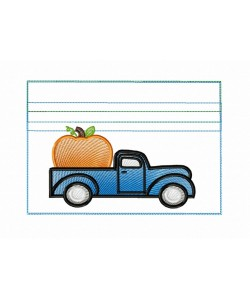 Zipper bag pumpkin truck embroidery ITH in the hoop