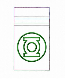 Zipper bag Green lantern embroidery ITH in the hoop