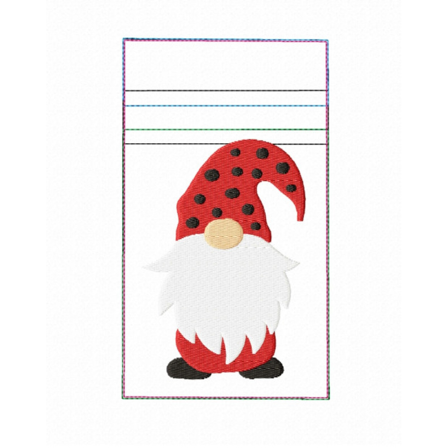Zipper bag gnome V2 embroidery ITH in the hoop