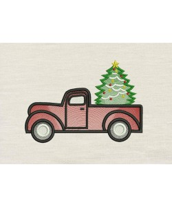 Truck christmas embroidery