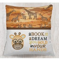 Giraffe Face embroidery A book is a dream