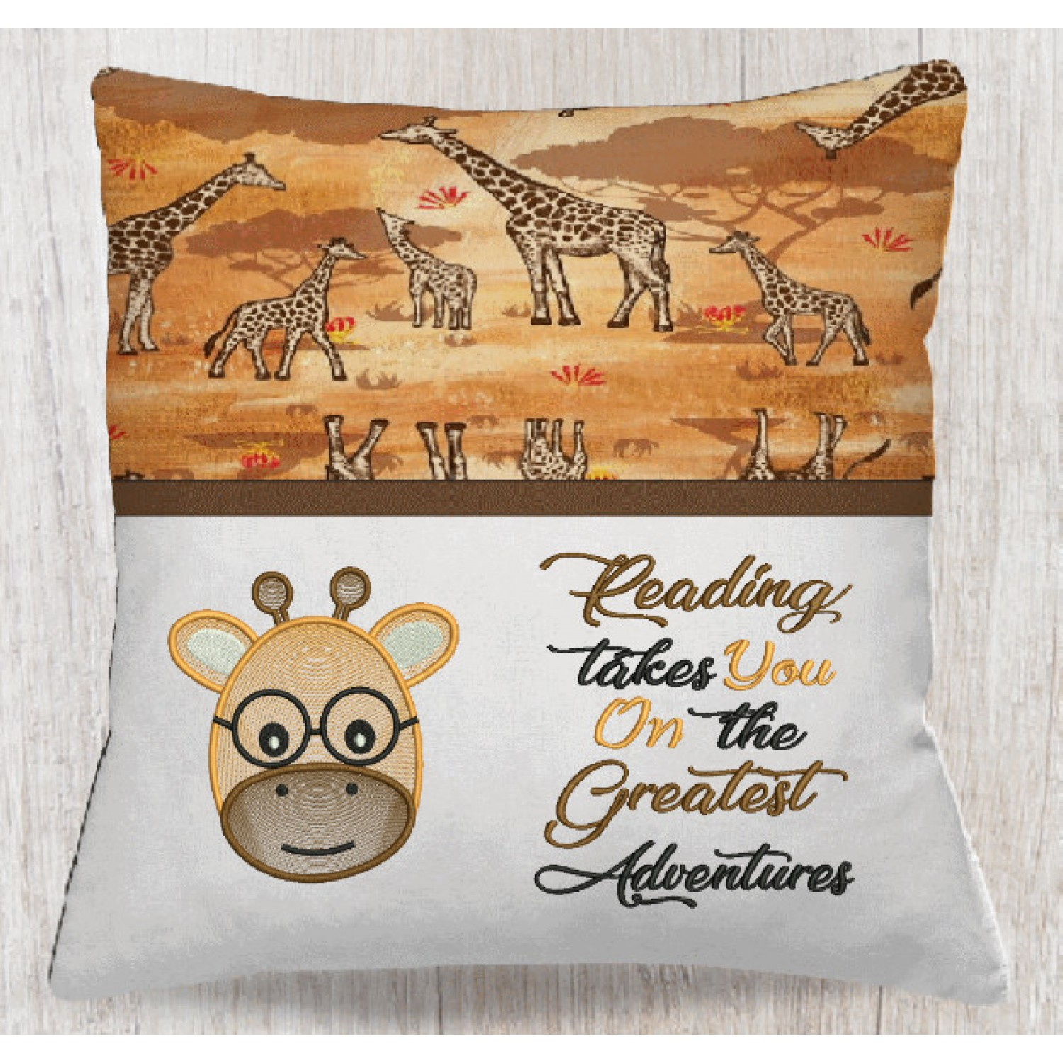 Giraffe Face embroidery reading takes you