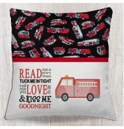 Fire truck Embroidery with read me a story