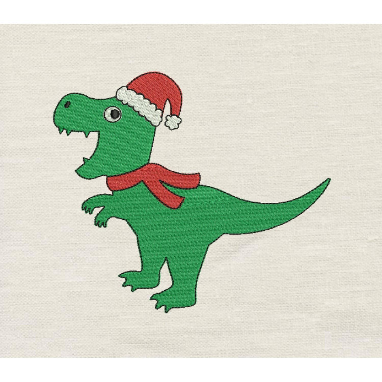 Dinosaur christmas embroidery