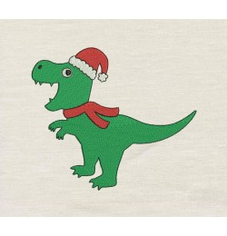 Dinosaur christmas embroidery
