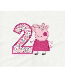 Peppa Pig birthday number 2 applique
