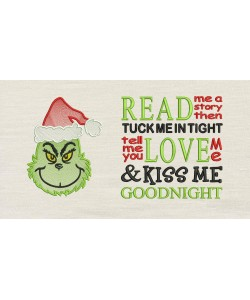 Grinch christmas embroidery read me a story