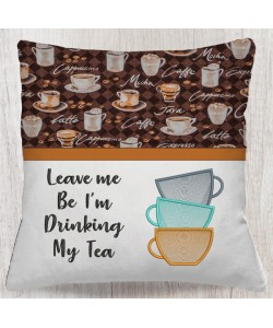 Tea Cups embroidery with Leave me reading pillow