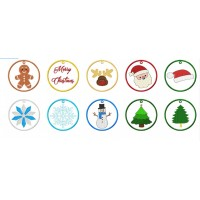 Christmas Ornaments Set 10 Designs 2 Sizes in the hoop