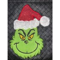 Grinch face applique design embroidery