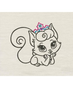 Cat princess embroidery