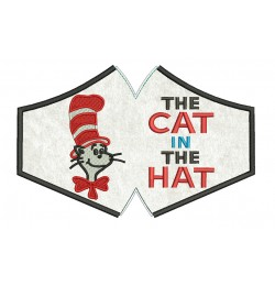 Face mask the cat in the hat For kids and adult in the hoop