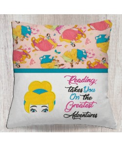 Cinderella face with reading takes you designs