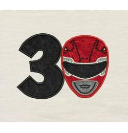 Power Ranger birthday number 3 Applique