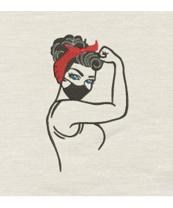 Rosie The Riveter with mask Embroidery