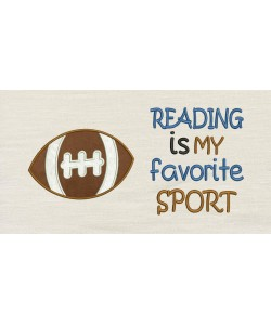 Reading is my favorite sport with Football applique
