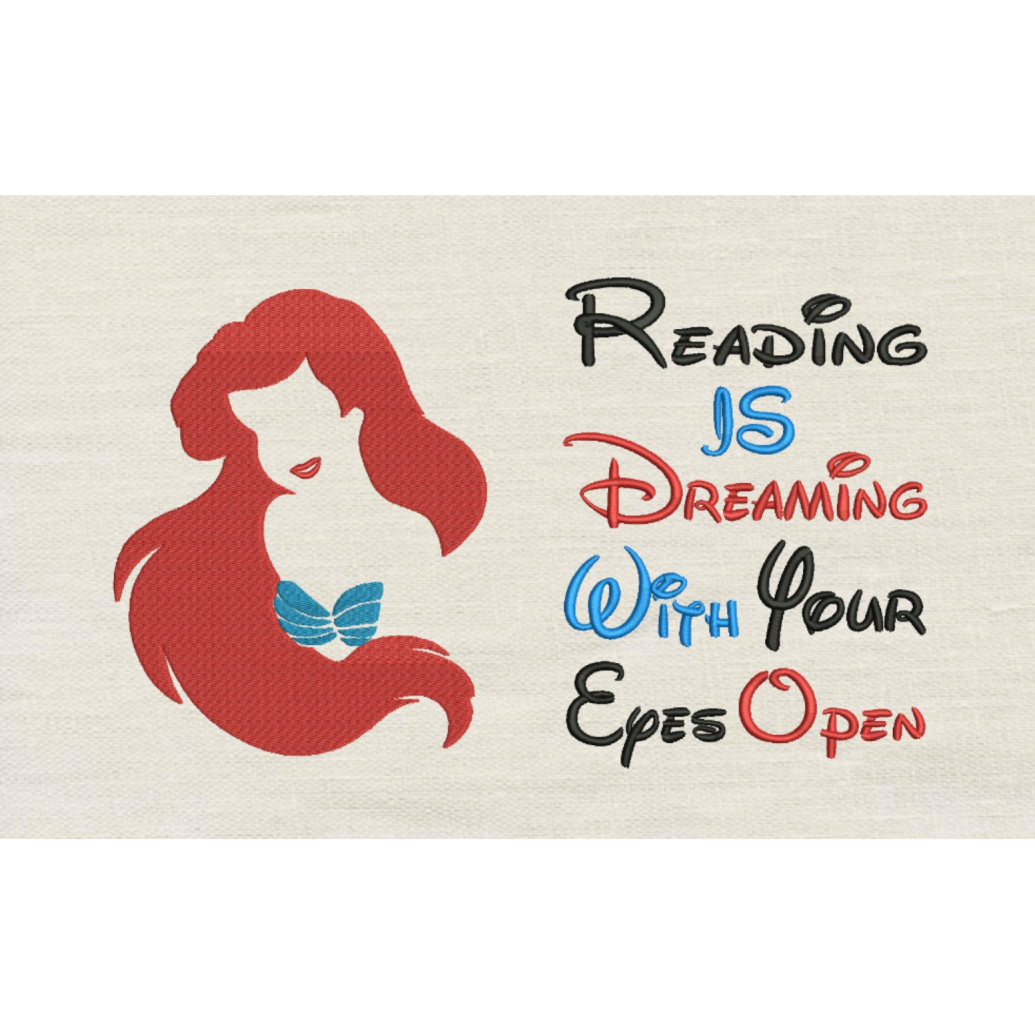 Little Mermaid Embroidery with reading is dreaming V2