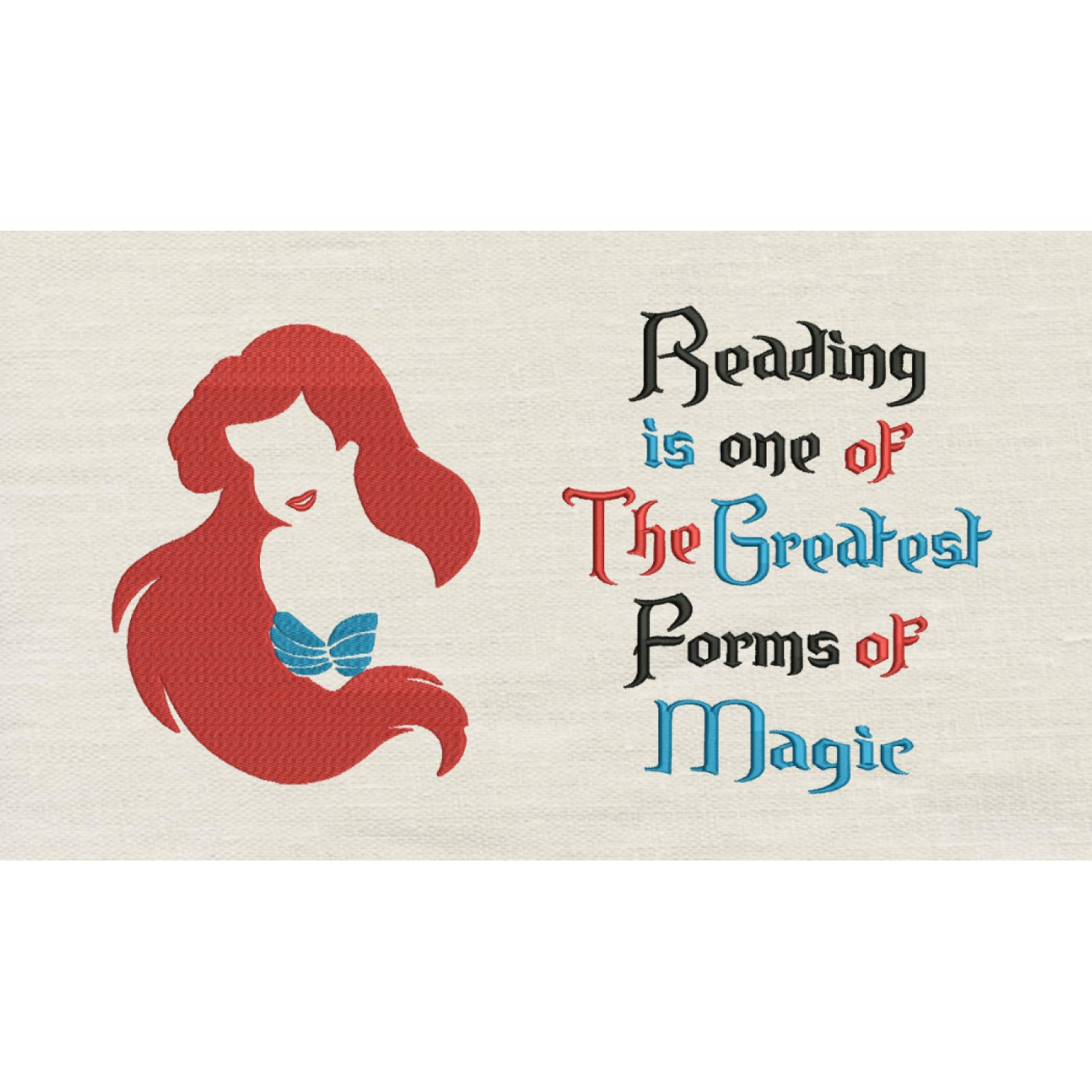 Little Mermaid Embroidery with Reading is one