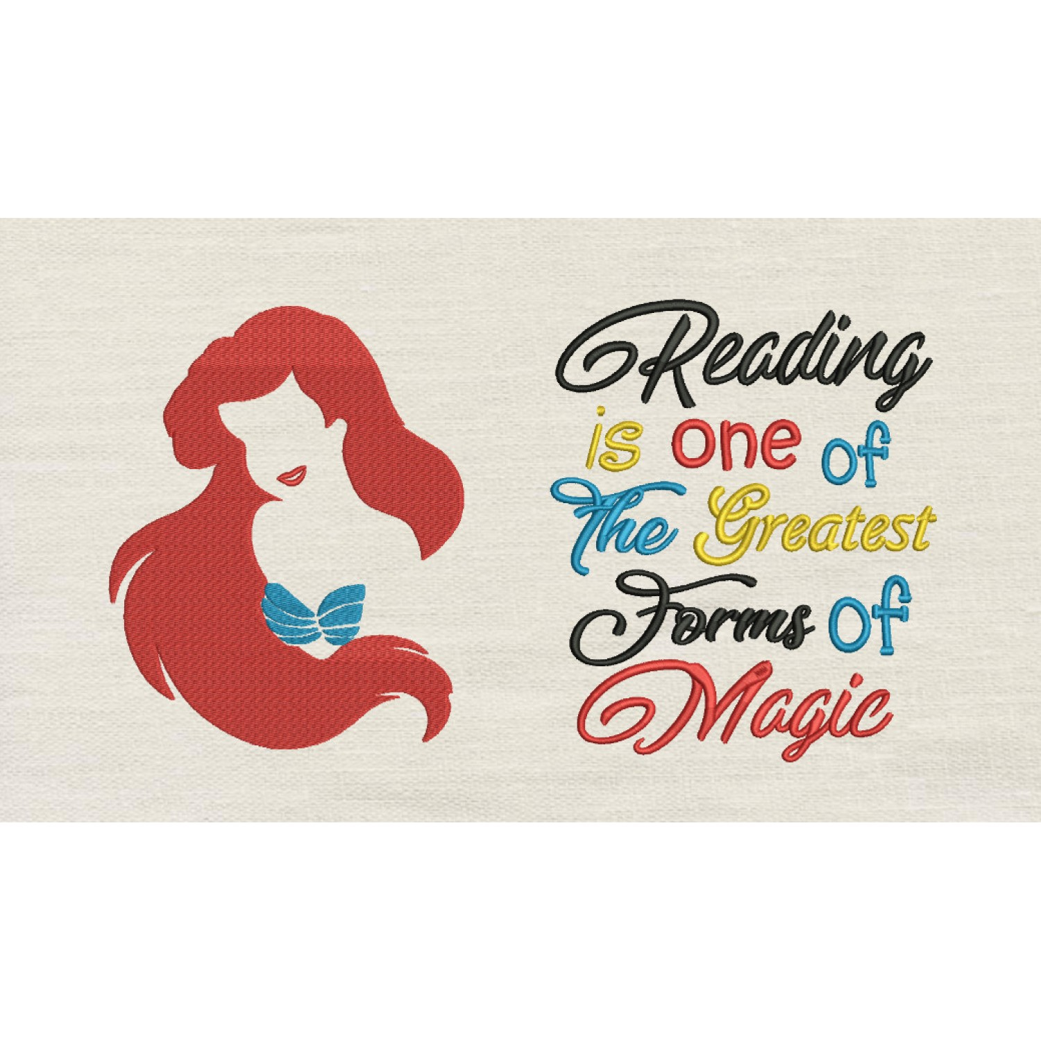 Little Mermaid Embroidery with Reading is one of