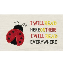 Ladybug with i will read embroidery
