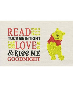 Pooh embroidery with read me a story