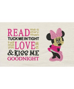 Minnie mouse embroidery read me a story