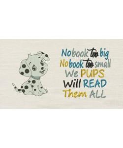 Dog samy embrodery No book too big