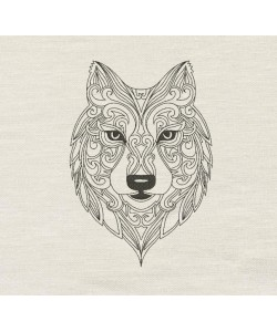 Wolf line embroidery design