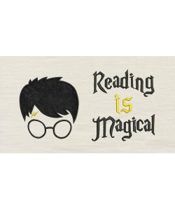 Harry Potter Face Applique Reading is Magical