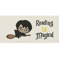 Harry potter Broom with Reading is Magical