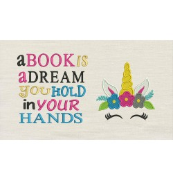 Unicorn Face embroidery a book is a dream