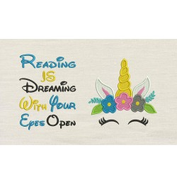 Unicorn Face embroidery reading is dreaming V2