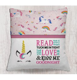 Unicorn jeune embroidery with read me a story