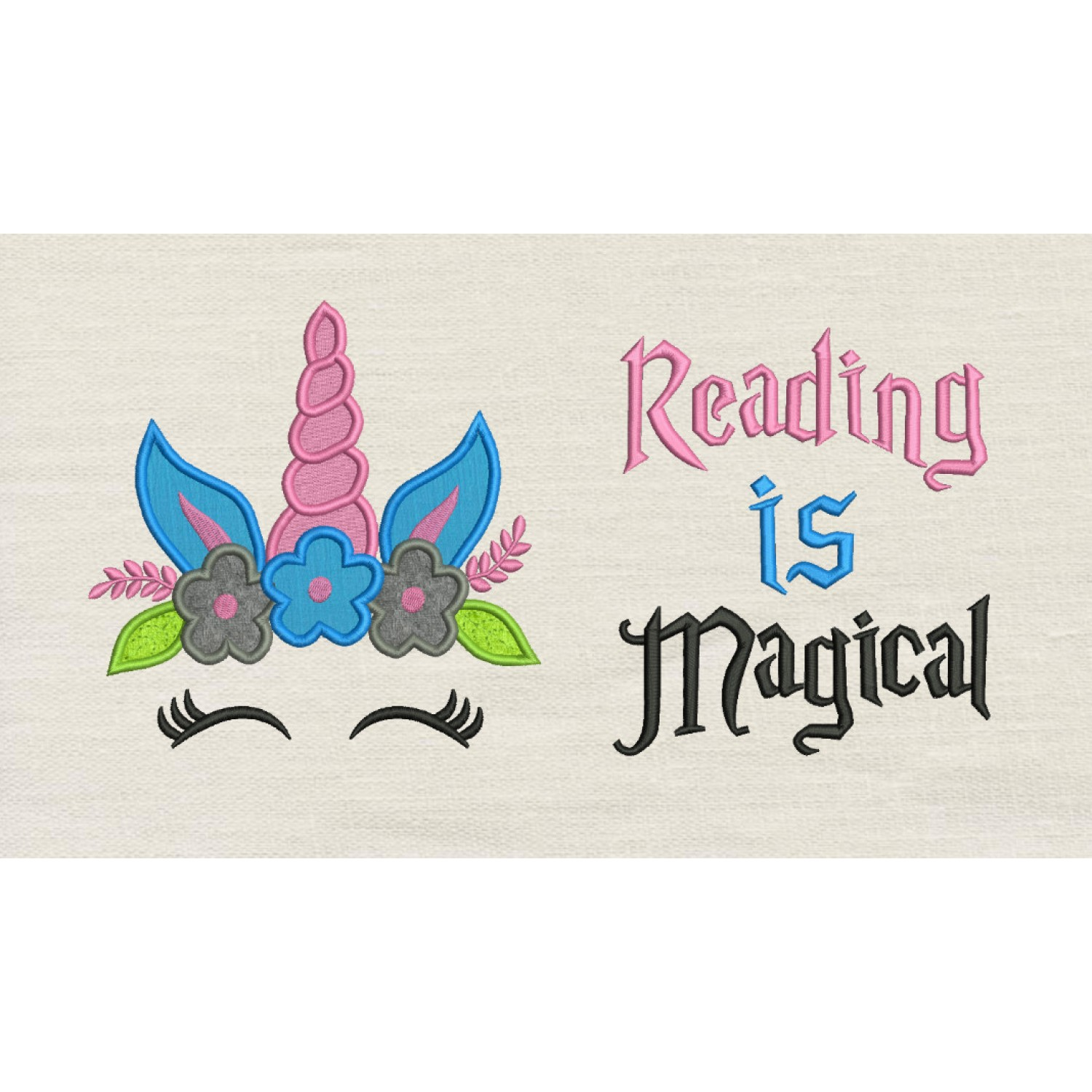 Unicorn Face applique with Reading is Magical