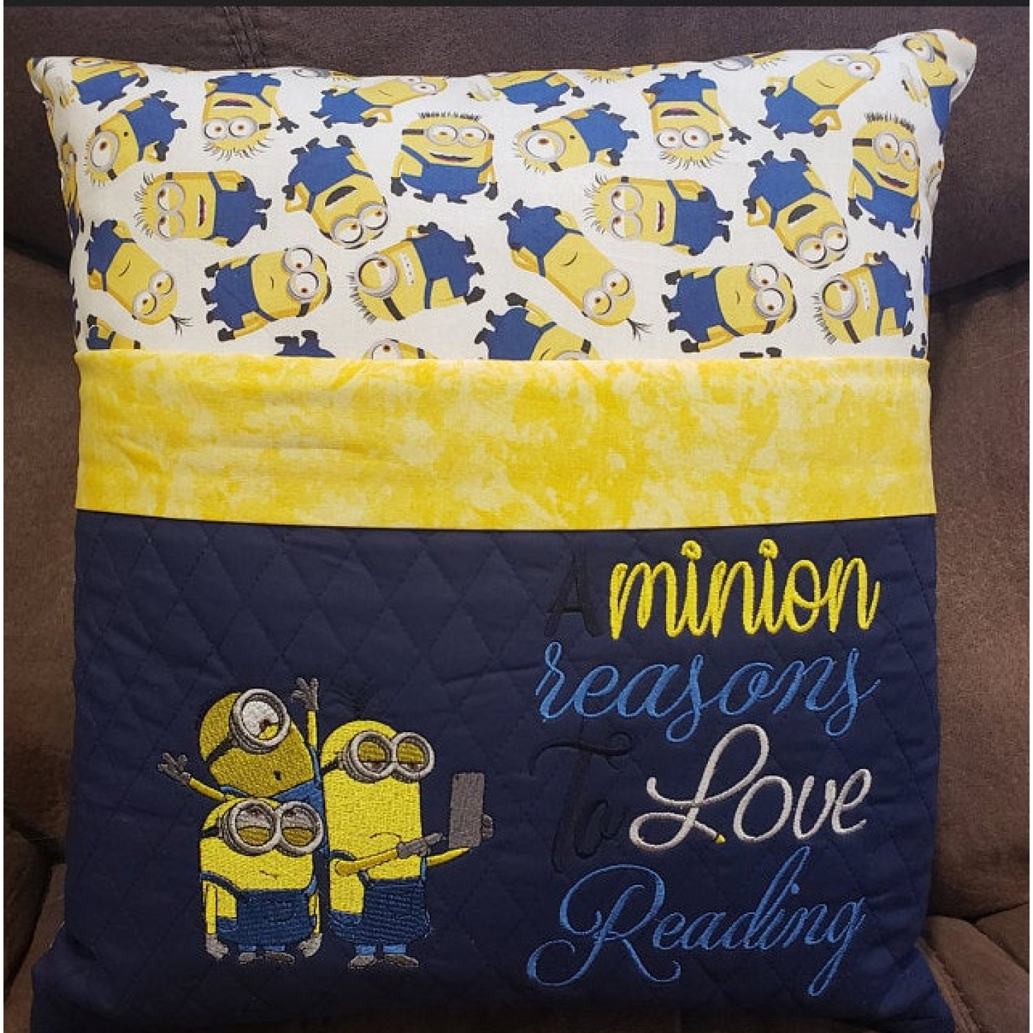 Minions sylvie with a minion reasons embroidery