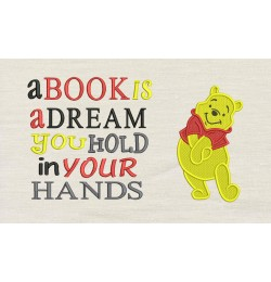Pooh embroidery with a book is a dream