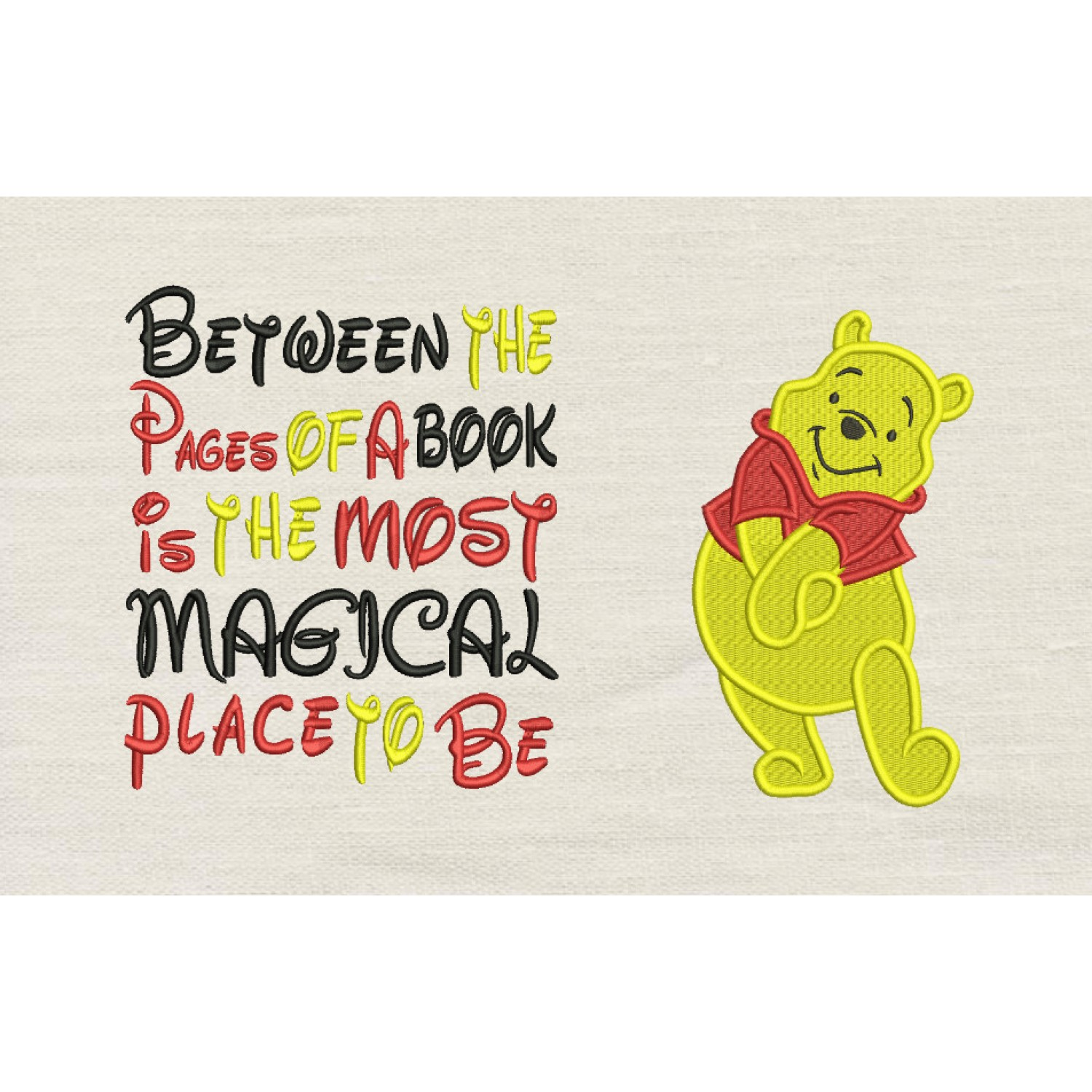 Pooh embroidery with Between the Pages