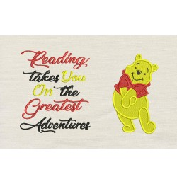 Pooh embroidery with reading takes you