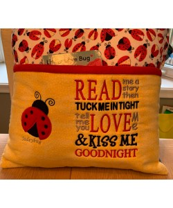Ladybug with read me a story embroidery