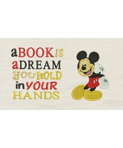 Mickey mouse embroidery V2 with a book is a dream