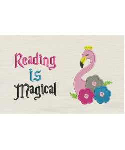 Flamingo embroidery flowers Reading is Magical