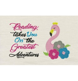 Flamingo embroidery flowers reading takes you