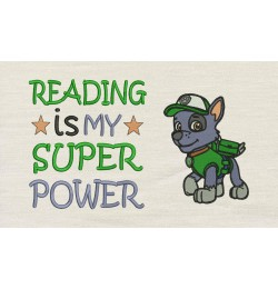 Rocky embroidery Reading is My Super power