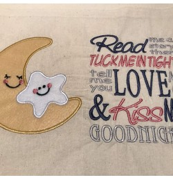 Moon and star read me a story embroidery
